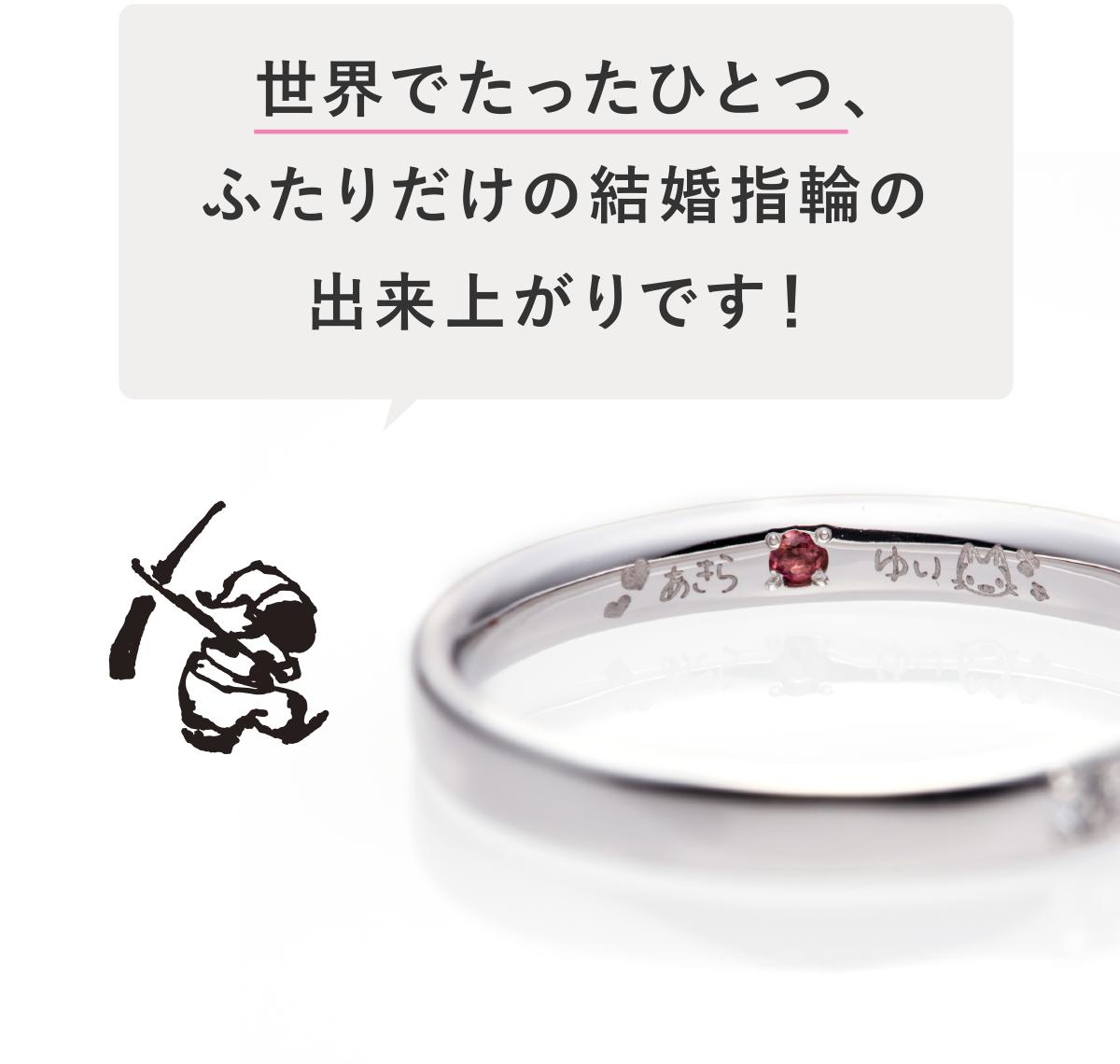 世界でたったひとつ、ふたりだけの結婚指輪(マリッジリング)の出来上がりです!