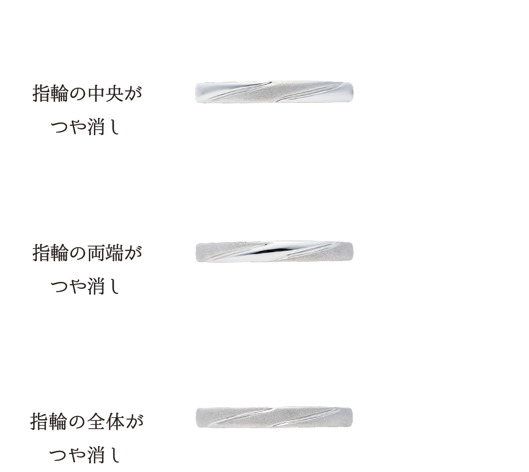 指輪の中央がつや消し(上) 指輪の両端がつや消し(中央) 指輪の全体がつや消し(下)